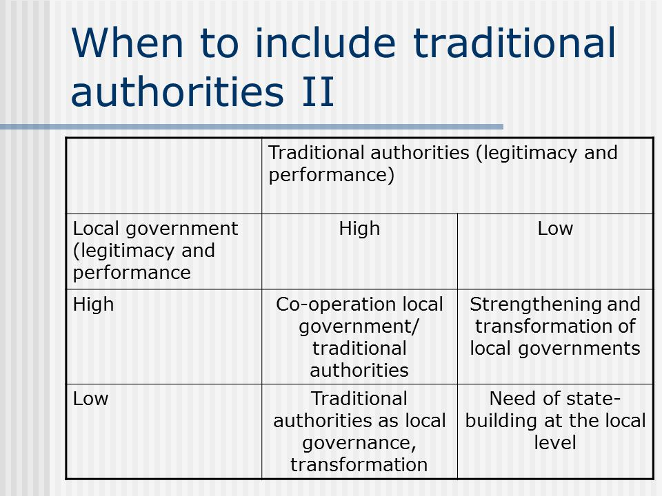 When to include traditional authorities II Traditional authorities (legitimacy and performance) Local government (legitimacy and performance HighLow HighCo-operation local government/ traditional authorities Strengthening and transformation of local governments LowTraditional authorities as local governance, transformation Need of state- building at the local level