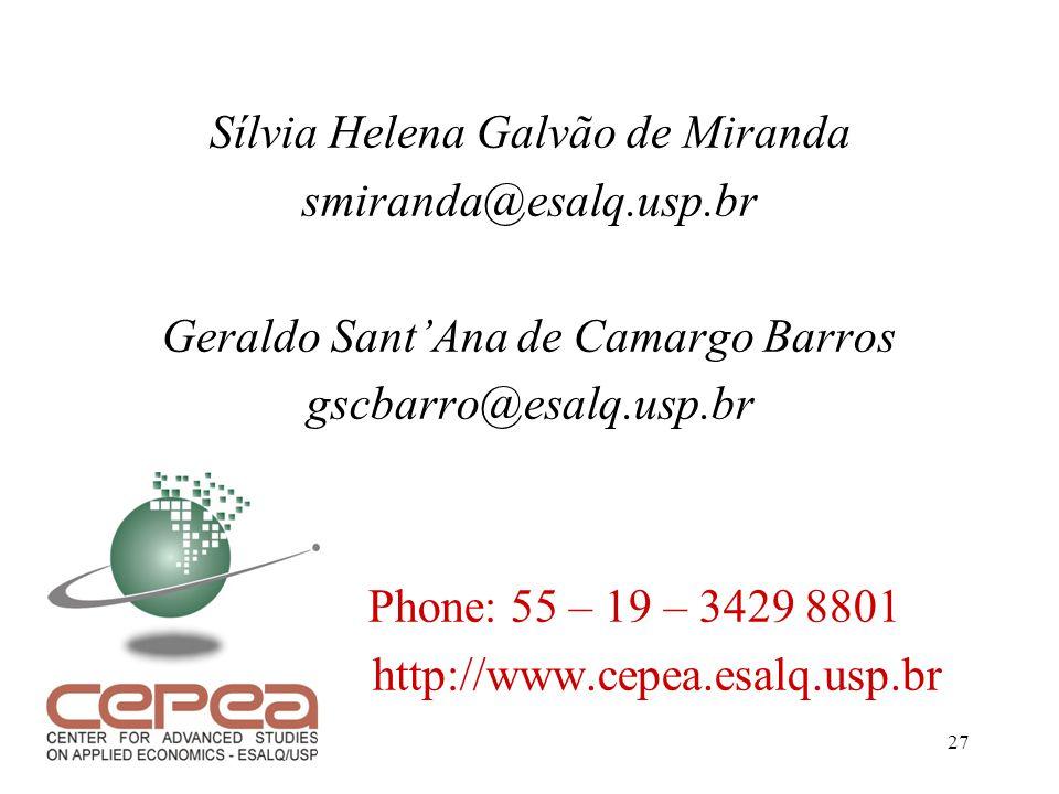 27 Sílvia Helena Galvão de Miranda smiranda@esalq.usp.br Geraldo Sant'Ana de Camargo Barros gscbarro@esalq.usp.br Phone: 55 – 19 – 3429 8801 http://ww