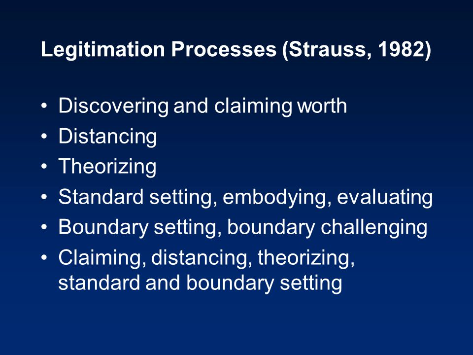 Legitimation Processes (Strauss, 1982) Discovering and claiming worth Distancing Theorizing Standard setting, embodying, evaluating Boundary setting,