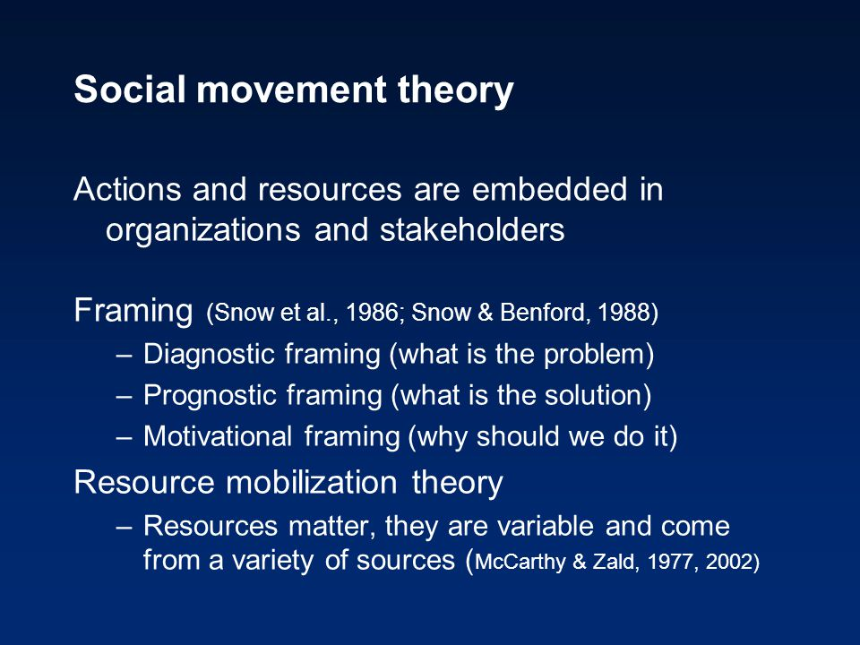 Social movement theory Actions and resources are embedded in organizations and stakeholders Framing (Snow et al., 1986; Snow & Benford, 1988) –Diagnos
