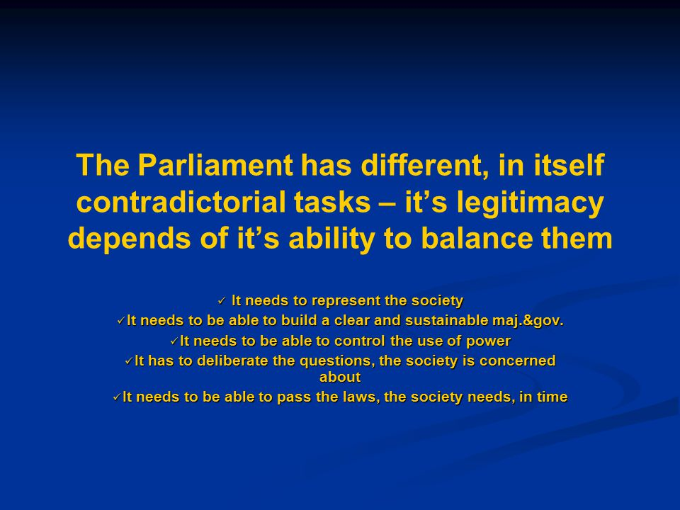 The legitimacy of Parliament increases, if it shares the sovereignty with the people and does not ask for the monopole of power Elections are only a partial transfer Elections are only a partial transfer of sovereignty in time A minority of the citizens should have the right to ask, that the people may decide on important matters A minority of the citizens should have the right to ask, that the people may decide on important matters Another minority of the citizens should have the right to propose laws and legislative reforms Another minority of the citizens should have the right to propose laws and legislative reforms The better Direct Democracy is developed the more representative Representative Democracy becomes The better Direct Democracy is developed the more representative Representative Democracy becomes Also in a proportional system the citizens should have the right to influence the ranking of the list and they should be allowed to combine them – in order to avoid too much power in the party-hierarchies and alienation between citizens and institutions Also in a proportional system the citizens should have the right to influence the ranking of the list and they should be allowed to combine them – in order to avoid too much power in the party-hierarchies and alienation between citizens and institutions