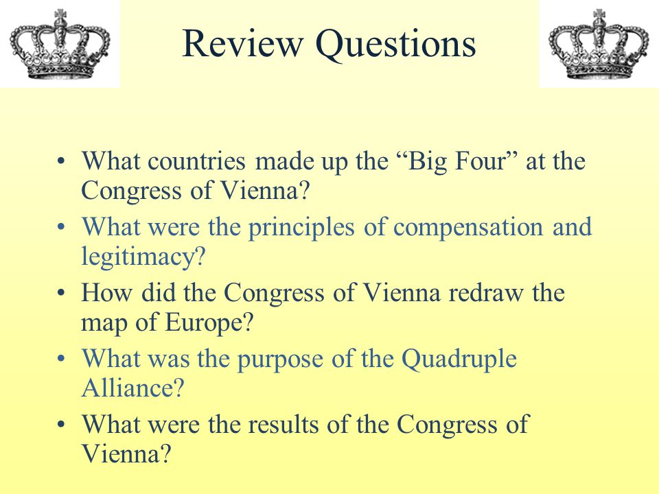 Review Questions What countries made up the Big Four at the Congress of Vienna.
