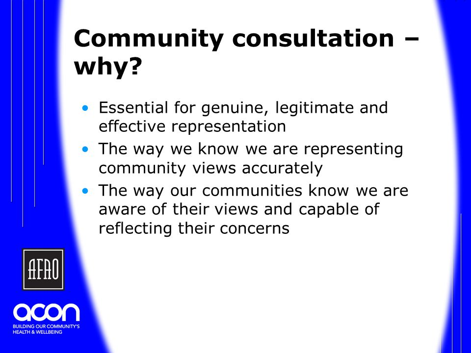 Community consultation – why.
