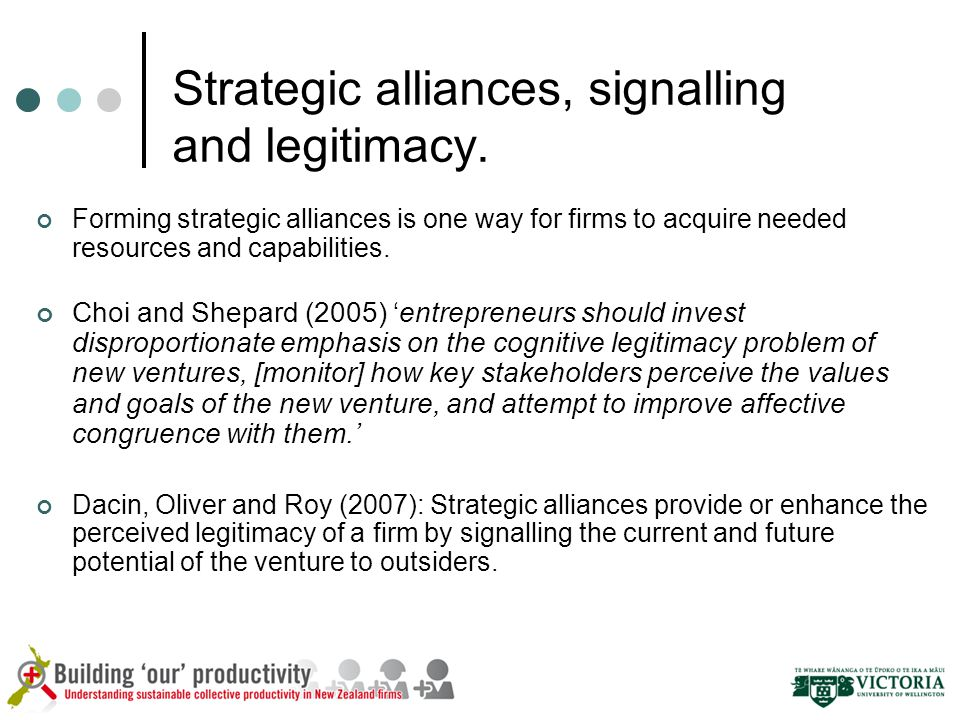 Strategic alliances, signalling and legitimacy.