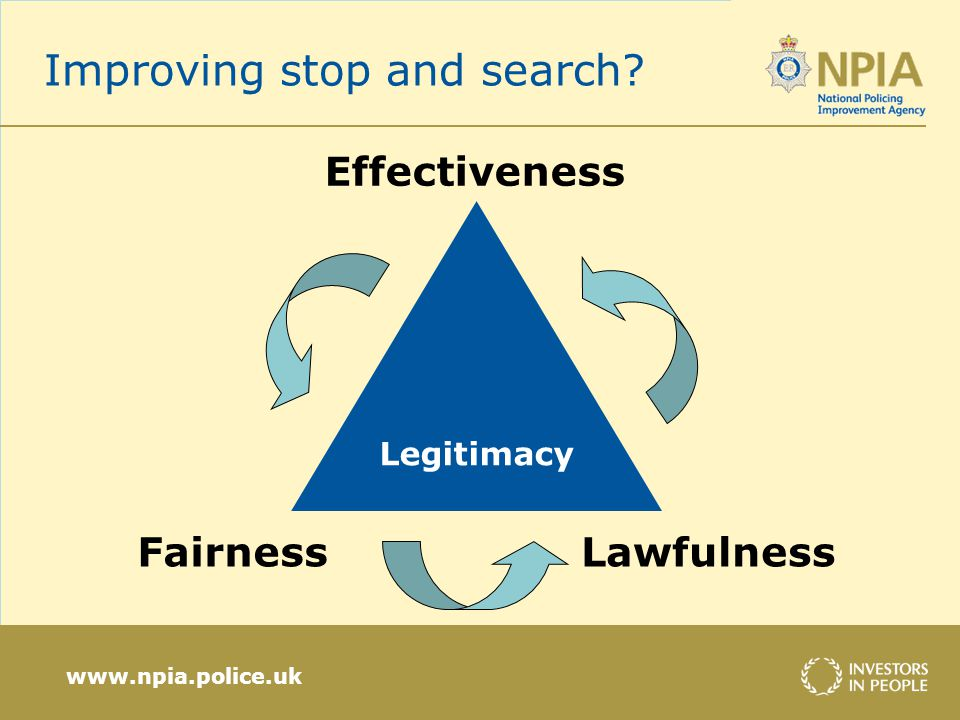 www.npia.police.uk Improving stop and search? Legitimacy Effectiveness FairnessLawfulness