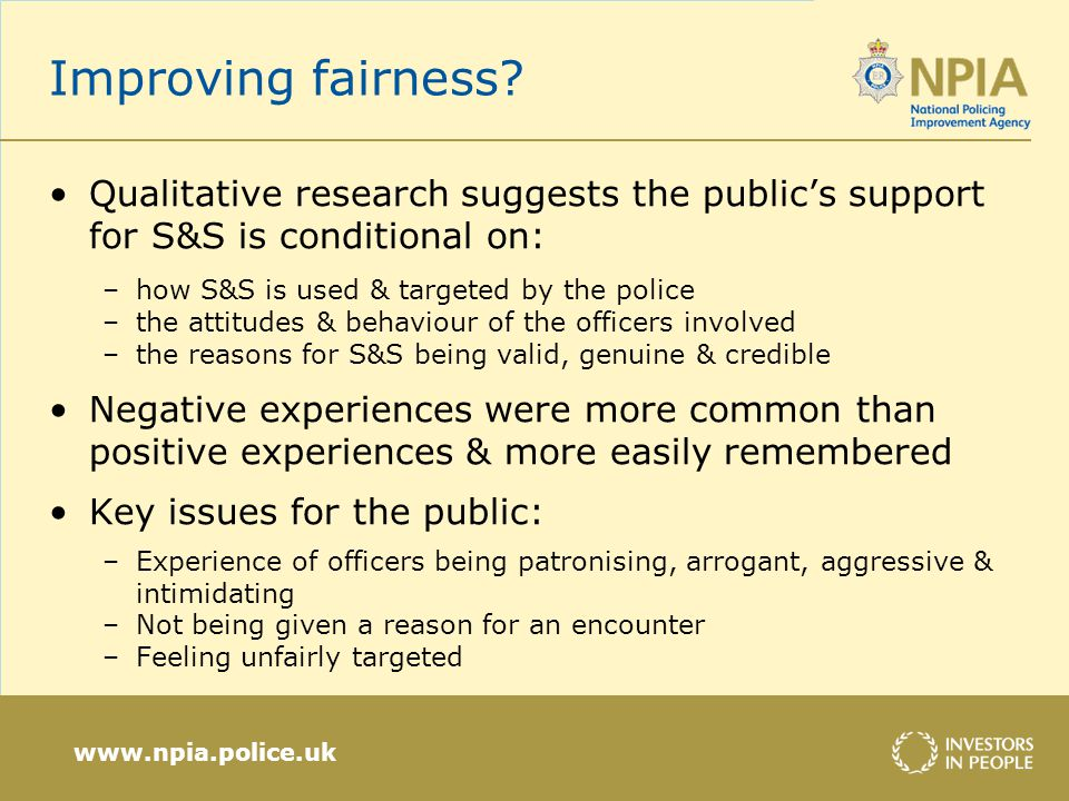 www.npia.police.uk Improving fairness.
