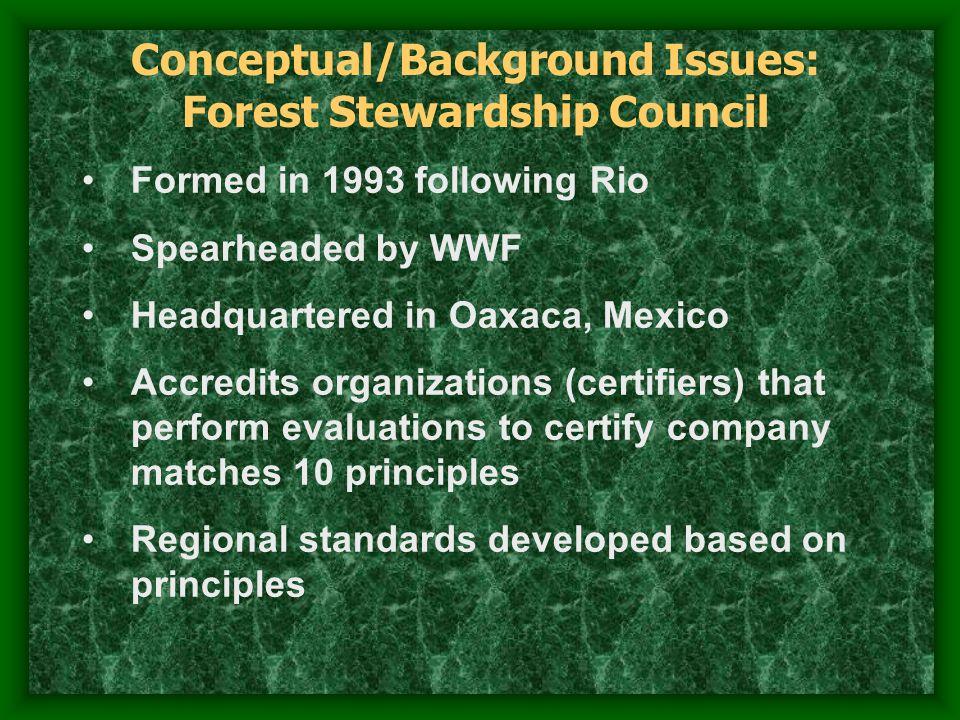 Certification Program (Governance System) Pragmatic Moral Cognitive Types of Legitimacy Least Durable Most Durable Legitimacy Granting Model for Forest Certification Governance Systems