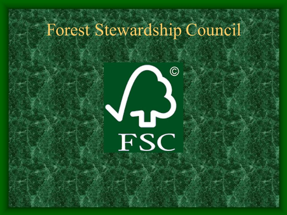 Conceptual/Background Issues: Forest Stewardship Council Formed in 1993 following Rio Spearheaded by WWF Headquartered in Oaxaca, Mexico Accredits organizations (certifiers) that perform evaluations to certify company matches 10 principles Regional standards developed based on principles