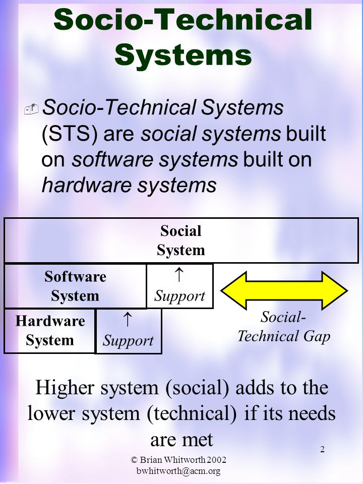 © Brian Whitworth 2002 bwhitworth@acm.org 3 Social Value  Social systems must: –Increase benefits, and –Reduce costs (of social interaction) to survive (as social systems)  They create social value: –Information exchange –Interpersonal friendships –Collective action (belonging)  And reduce risk (increase trust)  If a society creates social value and trust, which creates economic value, it is adaptive