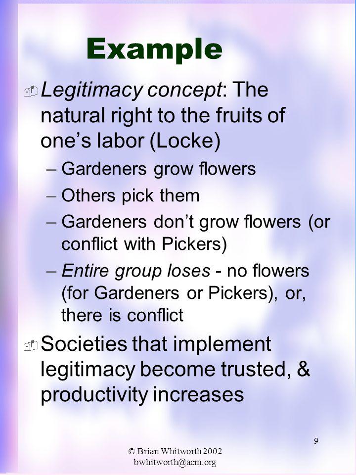 © Brian Whitworth 2002 bwhitworth@acm.org 10 Legitimacy  Law  Laws formally state legitimacy concepts –Law derives from legitimacy –Legitimacy allows precedent decisions (interpret the law) –Legality  Legitimacy (a bad law) –ILLegitimacy  ILLegality (e.g.