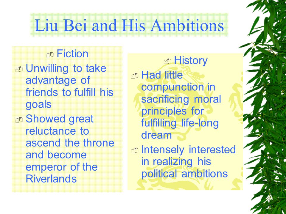 Liu Bei and His Ambitions  Fiction  Unwilling to take advantage of friends to fulfill his goals  Showed great reluctance to ascend the throne and become emperor of the Riverlands  History  Had little compunction in sacrificing moral principles for fulfilling life-long dream  Intensely interested in realizing his political ambitions
