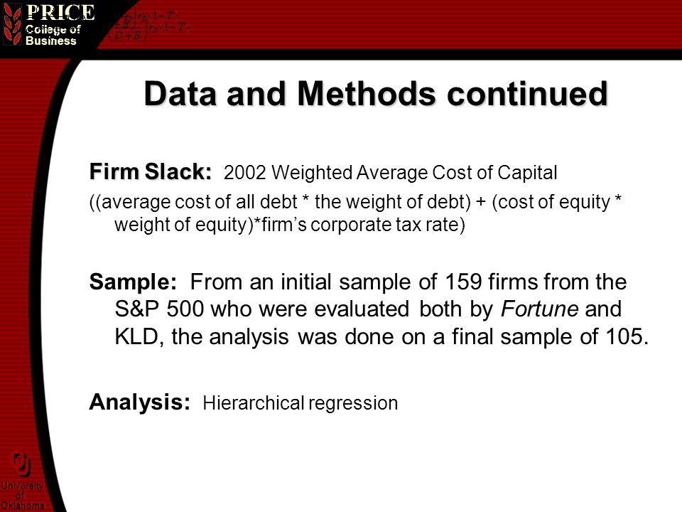 PRICE College of Business University of Oklahoma University of Oklahoma Data and Methods continued Firm Slack: Firm Slack: 2002 Weighted Average Cost