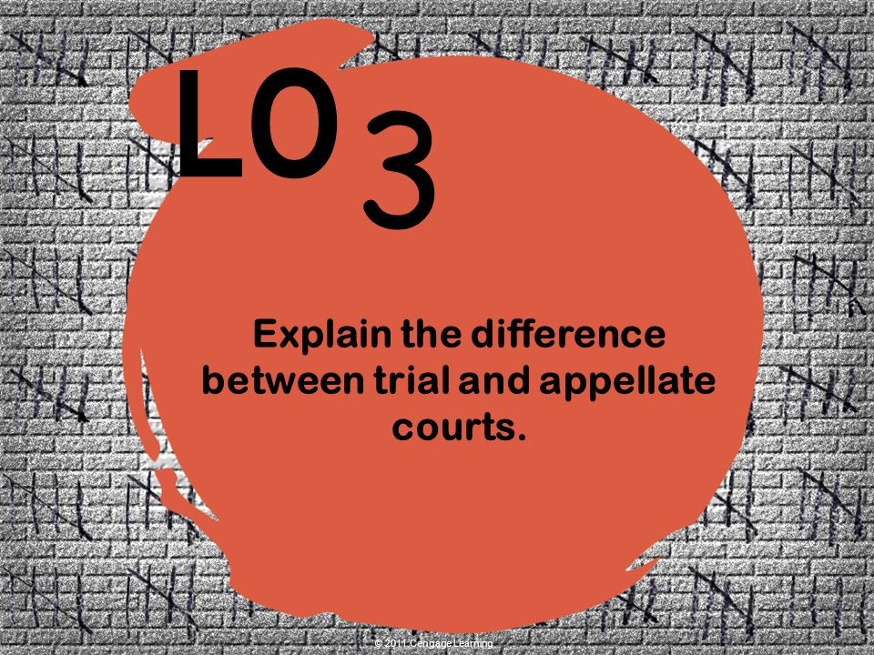 3 LO © 2011 Cengage Learning Explain the difference between trial and appellate courts.