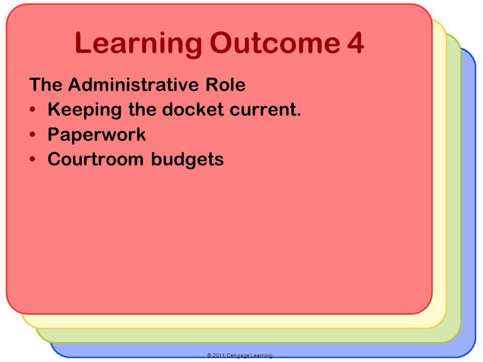 © 2011 Cengage Learning Learning Outcome 4 The Administrative Role Keeping the docket current. Paperwork Courtroom budgets