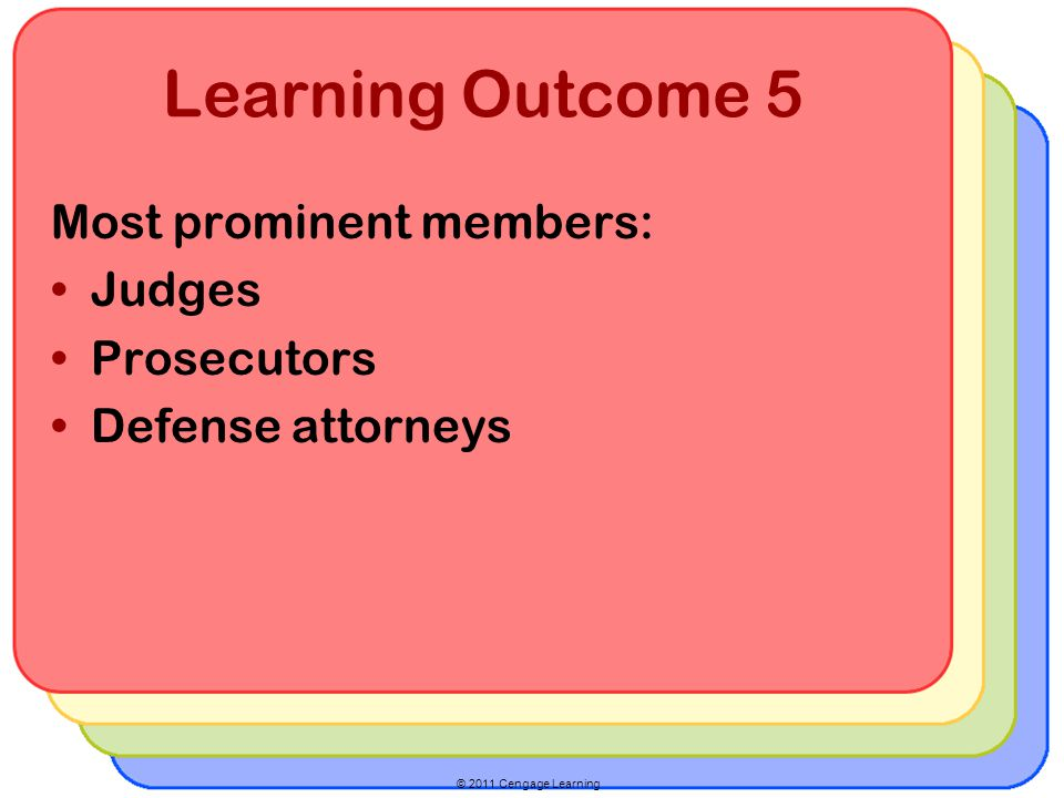 © 2011 Cengage Learning Learning Outcome 5 Most prominent members: Judges Prosecutors Defense attorneys
