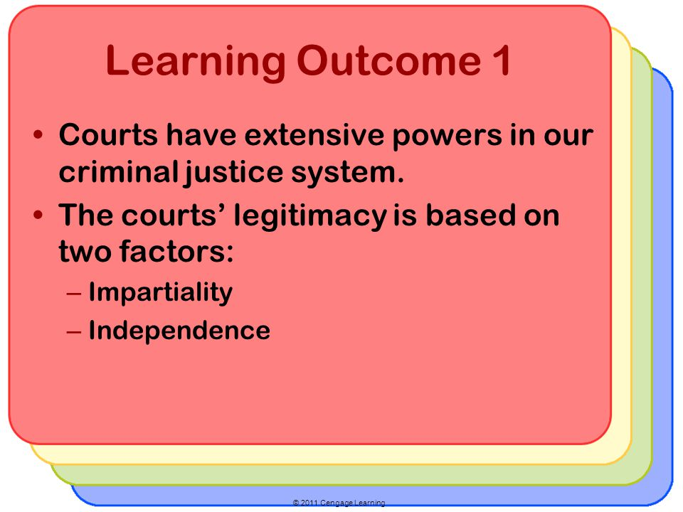 © 2011 Cengage Learning Learning Outcome 1 Courts have extensive powers in our criminal justice system.