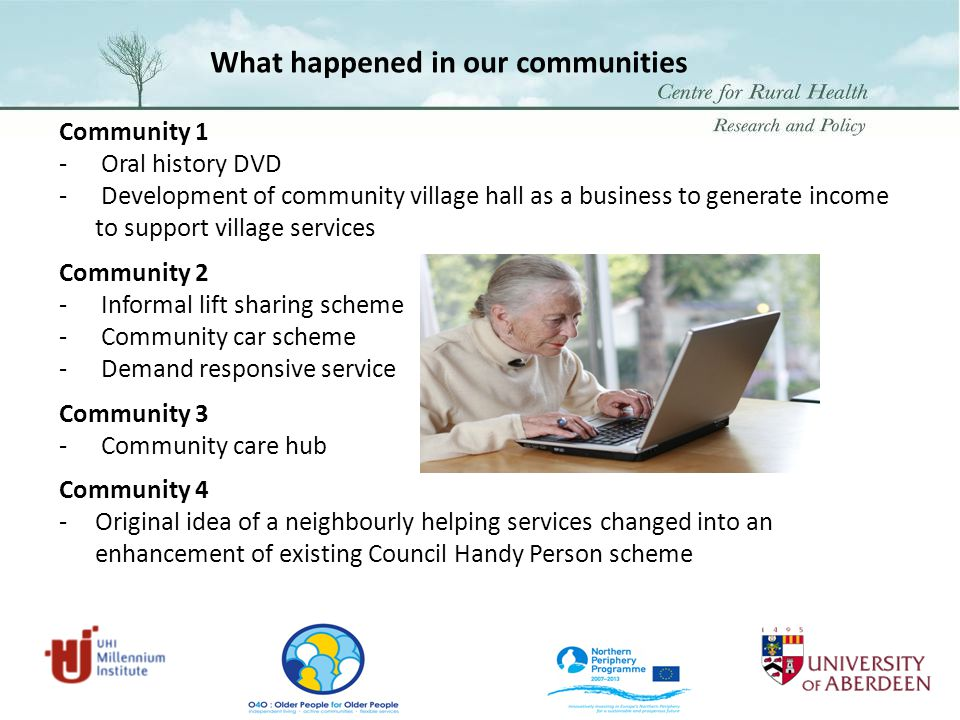 Community 1 - Oral history DVD - Development of community village hall as a business to generate income to support village services Community 2 - Informal lift sharing scheme - Community car scheme - Demand responsive service Community 3 - Community care hub Community 4 - Original idea of a neighbourly helping services changed into an enhancement of existing Council Handy Person scheme What happened in our communities
