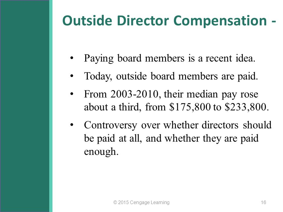 Outside Director Compensation - Paying board members is a recent idea. Today, outside board members are paid. From 2003-2010, their median pay rose ab