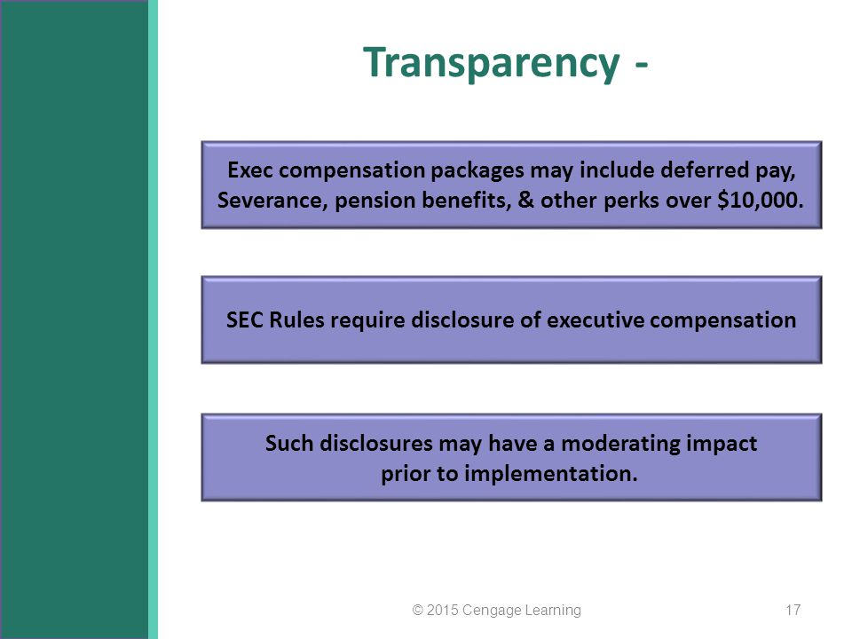 Transparency - © 2015 Cengage Learning17 Exec compensation packages may include deferred pay, Severance, pension benefits, & other perks over $10,000.