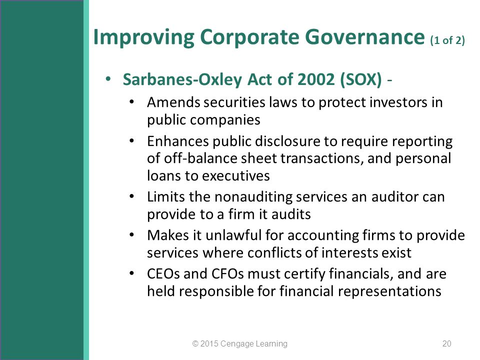 Improving Corporate Governance (1 of 2) Sarbanes-Oxley Act of 2002 (SOX) - Amends securities laws to protect investors in public companies Enhances pu