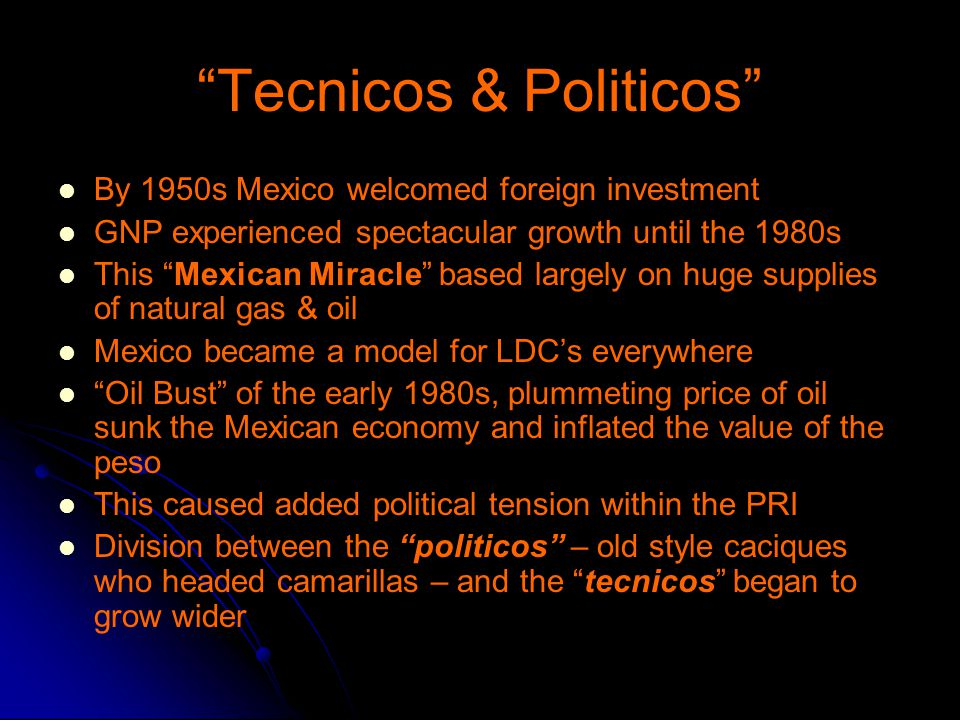Tecnicos & Politicos By 1950s Mexico welcomed foreign investment GNP experienced spectacular growth until the 1980s This Mexican Miracle based largely on huge supplies of natural gas & oil Mexico became a model for LDC's everywhere Oil Bust of the early 1980s, plummeting price of oil sunk the Mexican economy and inflated the value of the peso This caused added political tension within the PRI Division between the politicos – old style caciques who headed camarillas – and the tecnicos began to grow wider
