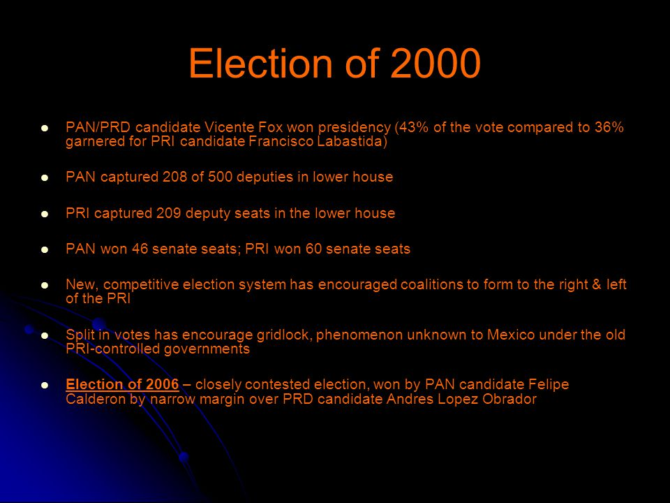 Election of 2000 PAN/PRD candidate Vicente Fox won presidency (43% of the vote compared to 36% garnered for PRI candidate Francisco Labastida) PAN captured 208 of 500 deputies in lower house PRI captured 209 deputy seats in the lower house PAN won 46 senate seats; PRI won 60 senate seats New, competitive election system has encouraged coalitions to form to the right & left of the PRI Split in votes has encourage gridlock, phenomenon unknown to Mexico under the old PRI-controlled governments Election of 2006 – closely contested election, won by PAN candidate Felipe Calderon by narrow margin over PRD candidate Andres Lopez Obrador