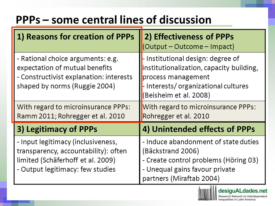 PPPs – some central lines of discussion 1) Reasons for creation of PPPs 2) Effectiveness of PPPs (Output – Outcome – Impact) - Rational choice arguments: e.g.