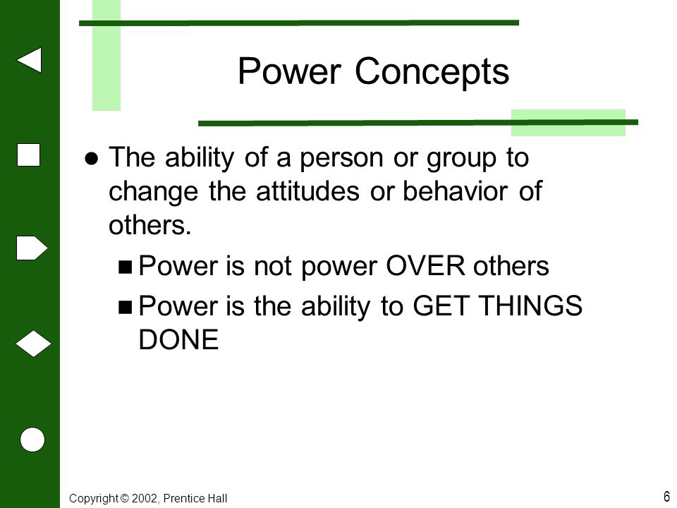 Copyright © 2002, Prentice Hall 6 Power Concepts The ability of a person or group to change the attitudes or behavior of others. Power is not power OV