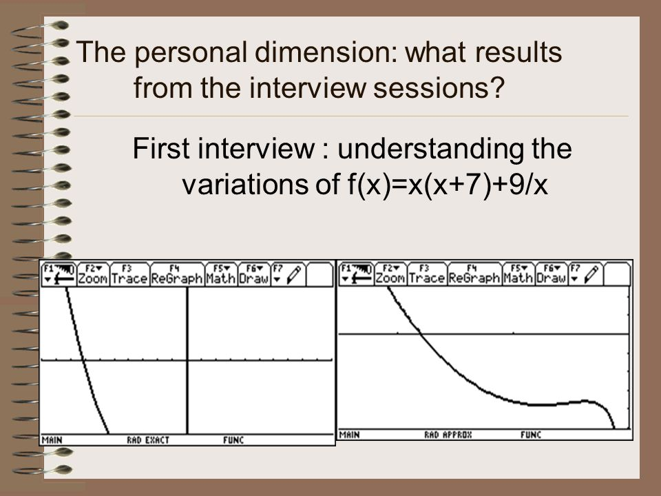 The personal dimension: what results from the interview sessions.