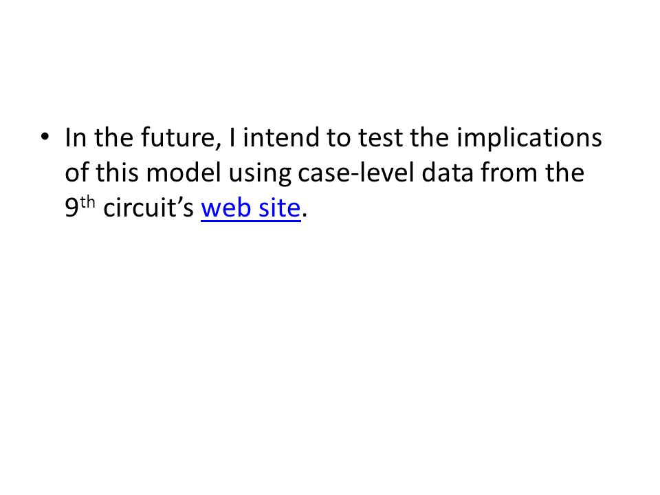 In the future, I intend to test the implications of this model using case-level data from the 9 th circuit's web site.web site