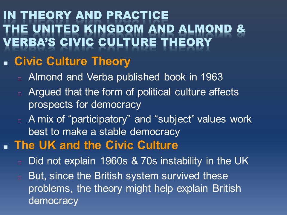 ■ Civic Culture Theory □ Almond and Verba published book in 1963 □ Argued that the form of political culture affects prospects for democracy □ A mix of participatory and subject values work best to make a stable democracy ■ The UK and the Civic Culture □ Did not explain 1960s & 70s instability in the UK □ But, since the British system survived these problems, the theory might help explain British democracy