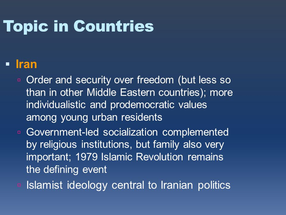 Topic in Countries  Iran  Order and security over freedom (but less so than in other Middle Eastern countries); more individualistic and prodemocratic values among young urban residents  Government-led socialization complemented by religious institutions, but family also very important; 1979 Islamic Revolution remains the defining event  Islamist ideology central to Iranian politics