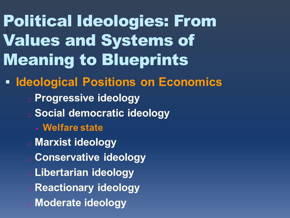 Political Ideologies: From Values and Systems of Meaning to Blueprints  Ideological Positions on Economics □ Progressive ideology □ Social democratic ideology  Welfare state □ Marxist ideology □ Conservative ideology □ Libertarian ideology □ Reactionary ideology □ Moderate ideology