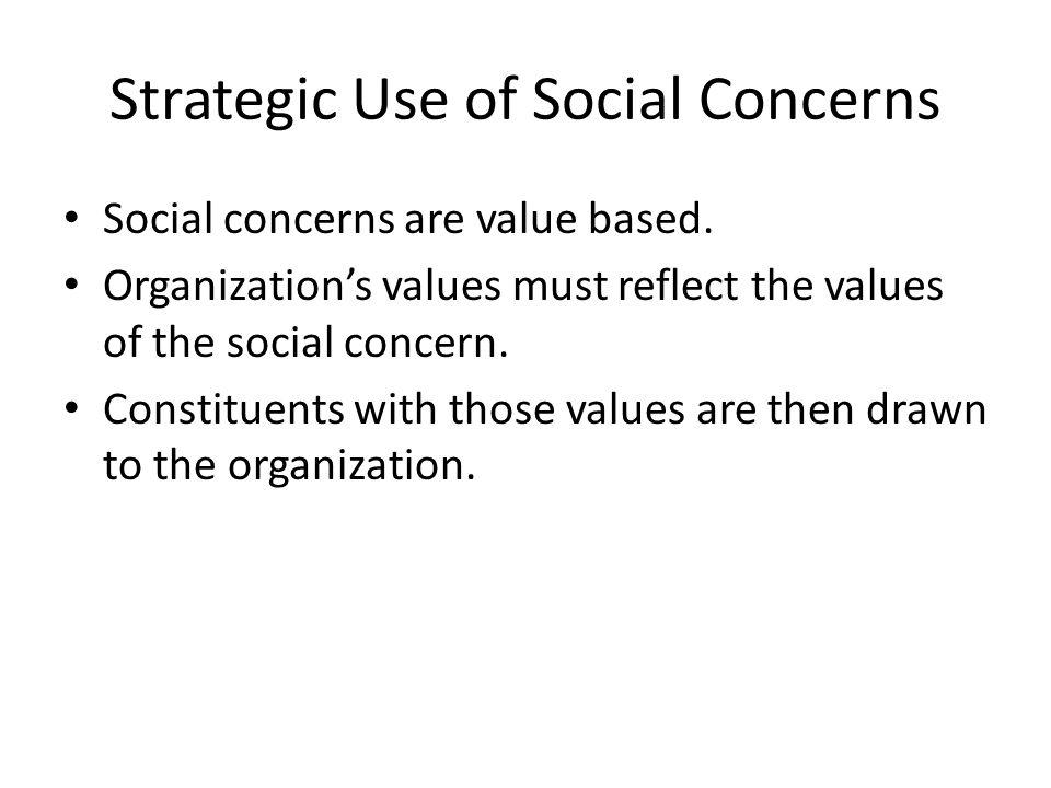 Strategic Use of Social Concerns Social concerns are value based.