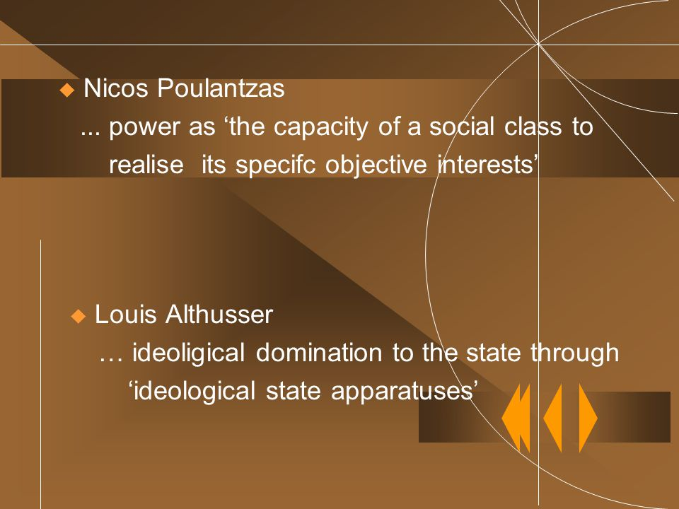  Nicos Poulantzas... power as 'the capacity of a social class to realise its specifc objective interests'  Louis Althusser … ideoligical domination