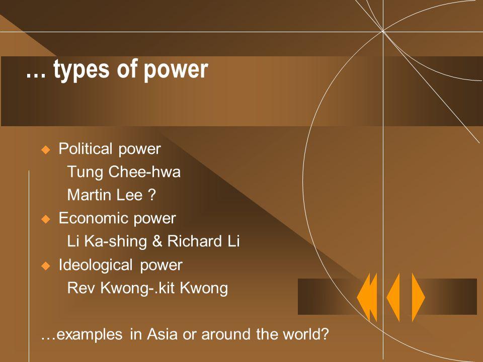 … types of power  Political power Tung Chee-hwa Martin Lee ?  Economic power Li Ka-shing & Richard Li  Ideological power Rev Kwong-.kit Kwong …exam