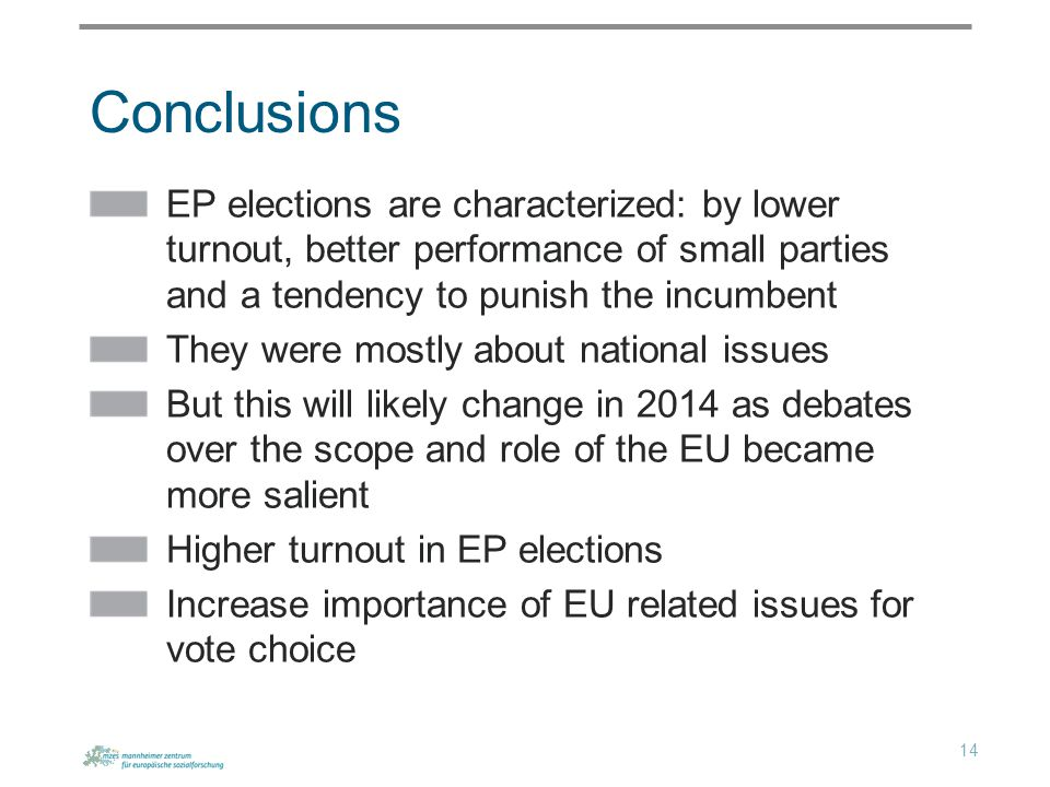 Conclusions EP elections are characterized: by lower turnout, better performance of small parties and a tendency to punish the incumbent They were mostly about national issues But this will likely change in 2014 as debates over the scope and role of the EU became more salient Higher turnout in EP elections Increase importance of EU related issues for vote choice 14