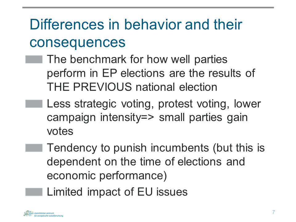 The benchmark for how well parties perform in EP elections are the results of THE PREVIOUS national election Less strategic voting, protest voting, lower campaign intensity=> small parties gain votes Tendency to punish incumbents (but this is dependent on the time of elections and economic performance) Limited impact of EU issues Differences in behavior and their consequences 7