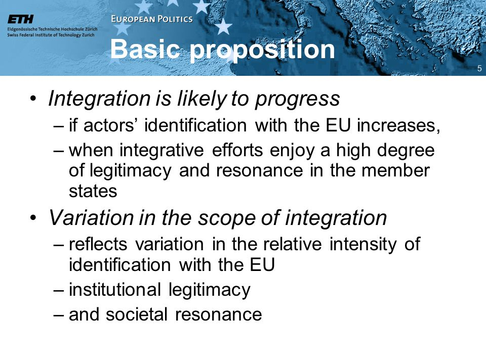 Basic proposition Integration is likely to progress –if actors' identification with the EU increases, –when integrative efforts enjoy a high degree of legitimacy and resonance in the member states Variation in the scope of integration –reflects variation in the relative intensity of identification with the EU –institutional legitimacy –and societal resonance 5
