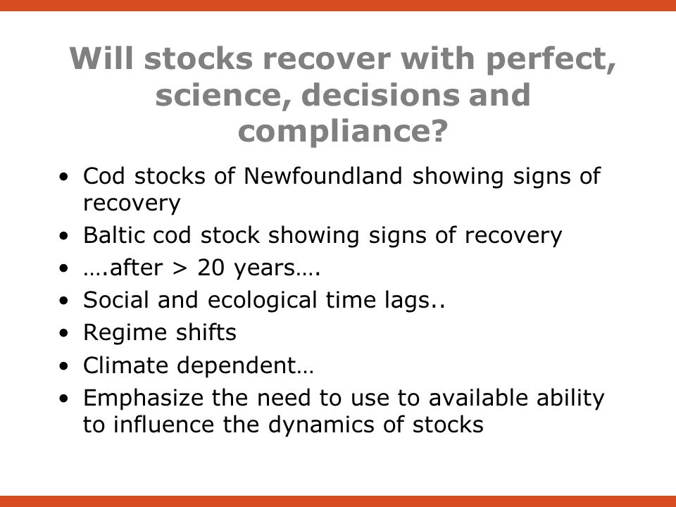 Will stocks recover with perfect, science, decisions and compliance.