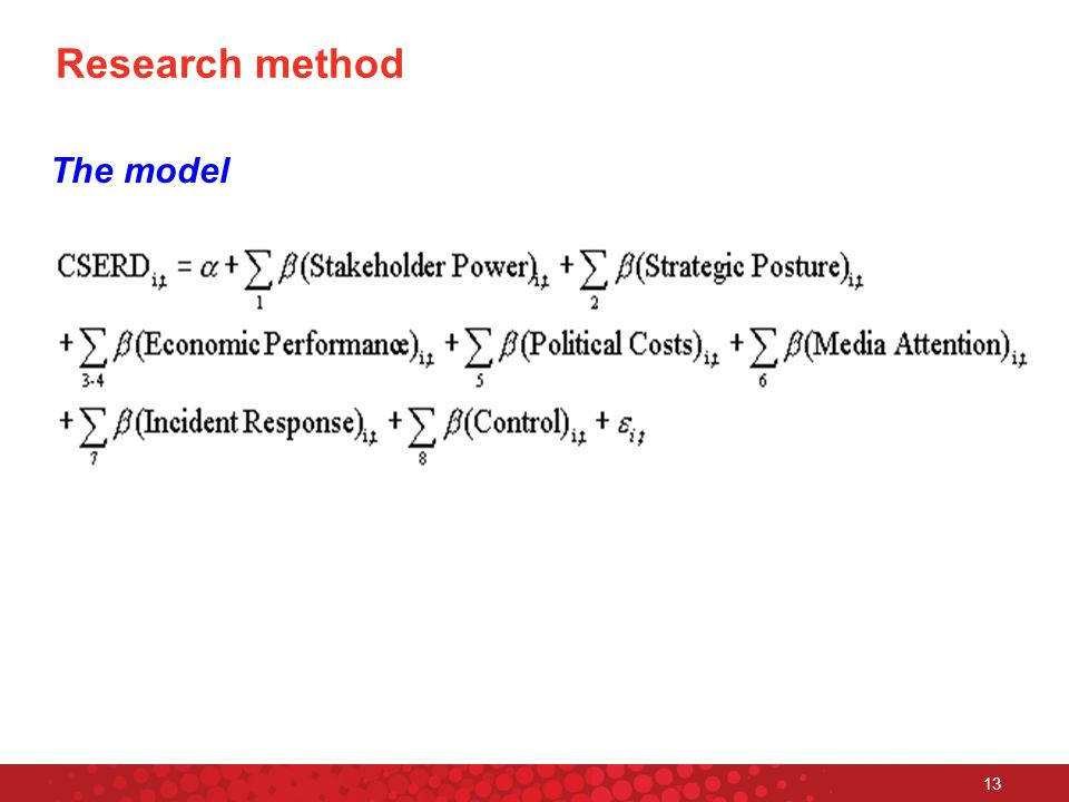 13 Research method The model