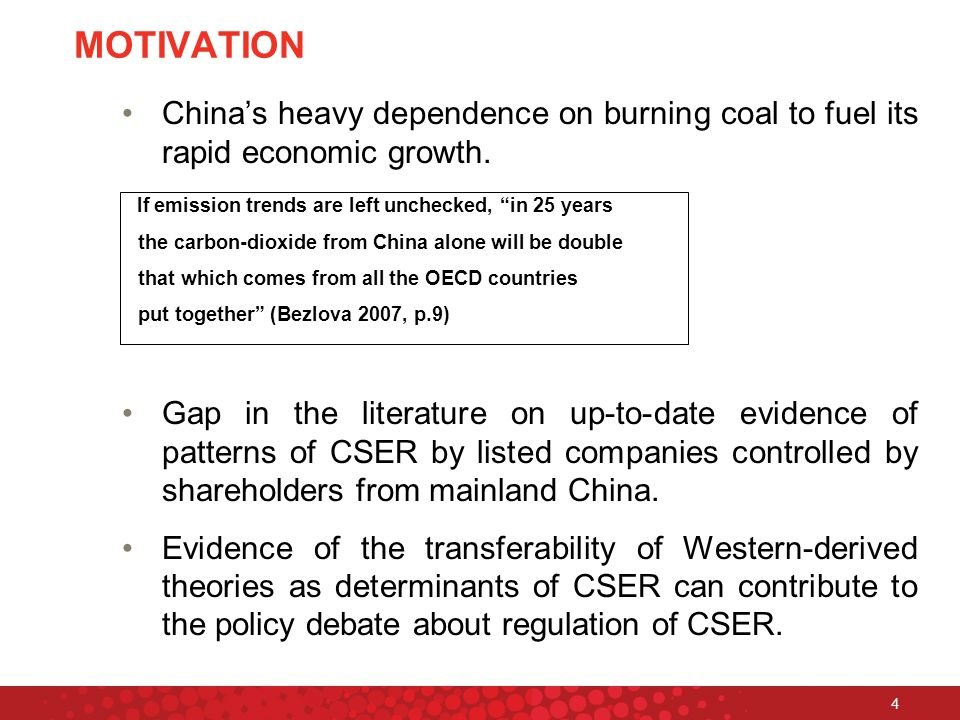 4 MOTIVATION China's heavy dependence on burning coal to fuel its rapid economic growth.