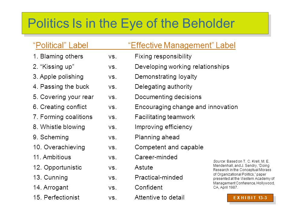 Politics: Power in Action Political Behavior Activities that are not required as part of one's formal role in the organization, but that influence, or