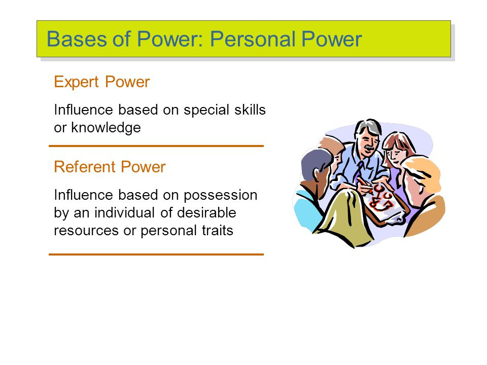 Bases of Power: Formal Power (cont'd) Legitimate Power The power a person receives as a result of his or her position in the formal hierarchy of an organization