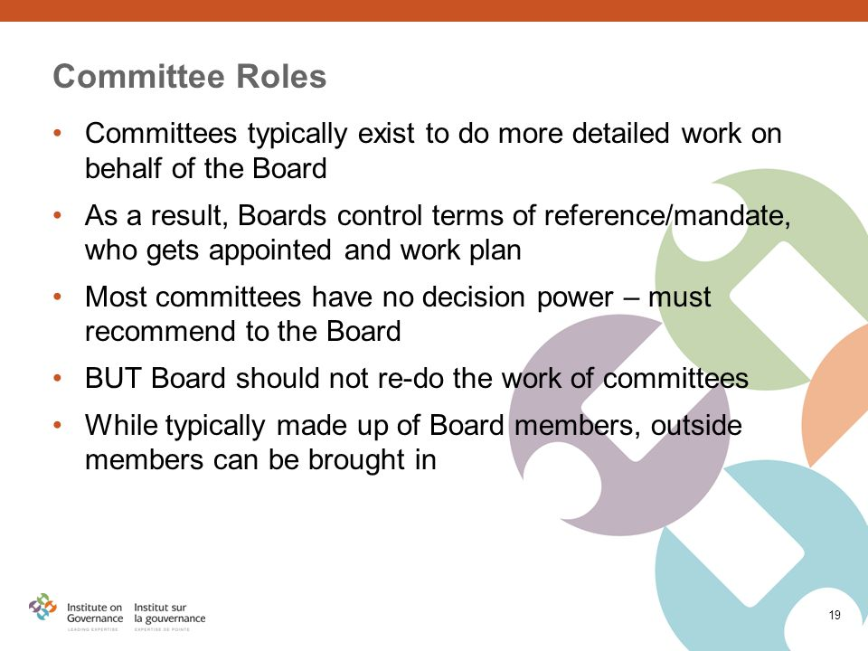 Committee Roles Committees typically exist to do more detailed work on behalf of the Board As a result, Boards control terms of reference/mandate, who gets appointed and work plan Most committees have no decision power – must recommend to the Board BUT Board should not re-do the work of committees While typically made up of Board members, outside members can be brought in 19