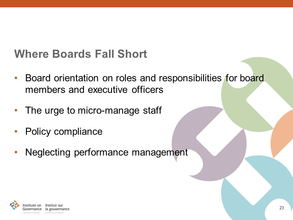 23 Where Boards Fall Short Board orientation on roles and responsibilities for board members and executive officers The urge to micro-manage staff Policy compliance Neglecting performance management