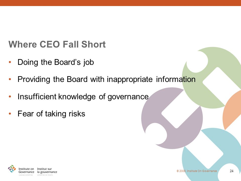 © 2009, Institute On Governance 24 Where CEO Fall Short Doing the Board's job Providing the Board with inappropriate information Insufficient knowledge of governance Fear of taking risks