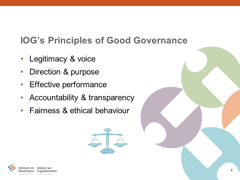 4 IOG's Principles of Good Governance Legitimacy & voice Direction & purpose Effective performance Accountability & transparency Fairness & ethical behaviour
