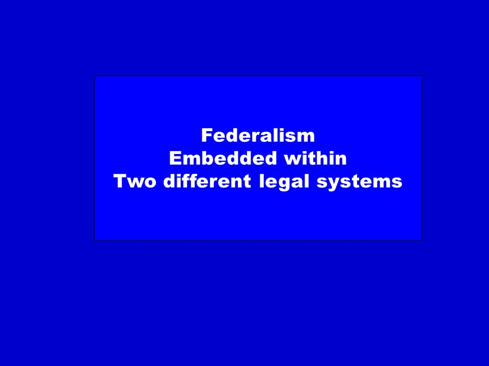 Federalism Embedded within Two different legal systems