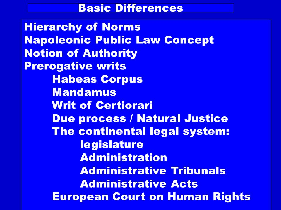 Basic Differences Hierarchy of Norms Napoleonic Public Law Concept Notion of Authority Prerogative writs Habeas Corpus Mandamus Writ of Certiorari Due process / Natural Justice The continental legal system: legislature Administration Administrative Tribunals Administrative Acts European Court on Human Rights